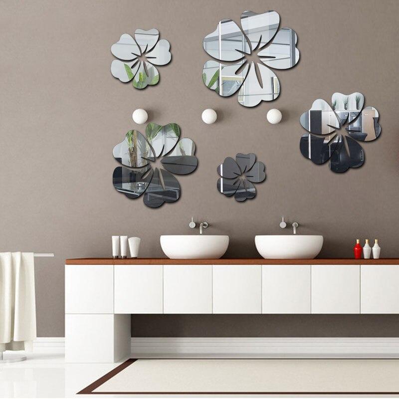 la fundecor nuevo gran flor de cristal espejo pegatinas de pared para sala