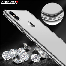 USLION Soft Case Para iphone 5 XR X 8 7 6 s Plus 5S SE Bling Do Diamante TPU Transparente Para iPhone XS MAX Caso de Telefone Tampa Do Telefone Capa(China)