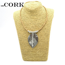 Natural Cork Ancient silver Leaves women necklace handmade original wooden jewelry Ship from Europe N-111(Portugal)
