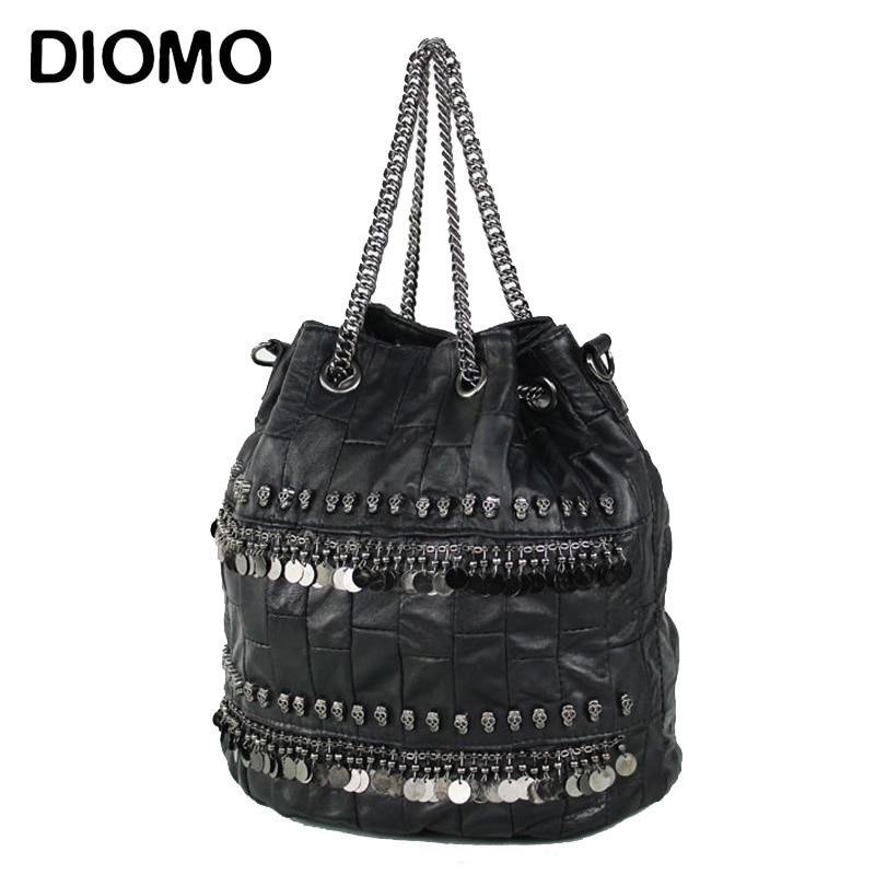 DIOM sheepskin skull genuine leather bag for women bucket bag female high quality shoulder Handbag with chain handle<br>