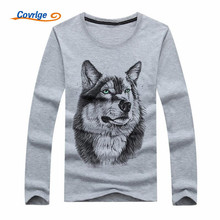 Covrlge 2018 Men T-Shirt 5XL White T Shirt Casual 3D Printed Wolf Cartoon Long Sleeve Tee Shirt Large Size Summer Hot MTL034(China)