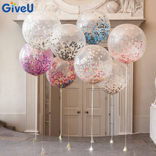 GiveU Hot 3pcs 36inch Giant Balloons Confetti with 10g Colorful Tissue Paper Confetti Balloon Wedding Birthday Round Confetti(China)