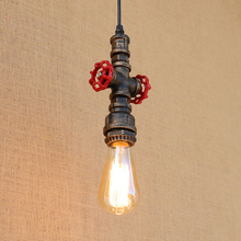 2 style Loft industrial Iron steam punk water Pipe Vintage pendant lamp cord e27 lights for personalized bar dining/living room