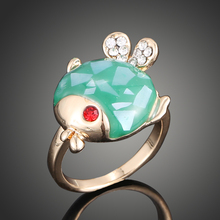 Fashion Koran Jewelry Cute Fish Rings Gold color Full Austrian Crystal Shell Red Cubic Zircon Shiny Engagement Rings