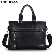 PHEHDERA 2017 Men Real Leather Briefcase Shoulder Bag Classic Black Brown Male Business Handbag Leather Computer Laptop Bags(China)