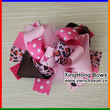 Girl's  Large Boutique In Pink Heart Dots Hair Accessories Ribbon Sculpture Hair Clippie fashion hair flowers