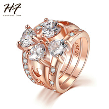 2016 New Luxury Rose Gold Color 3 Pieces Love Heart CZ Crystal Ring Sets Fashion Engagement Rings For Women Wholesale R673