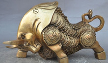 "ZSR 529 ++++++ 11"" china brass fengshui wealth Stock Market Wall Street Oxen Bull market statue(China)"