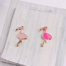 10PCS Hot 17*28MM Animal Flamingo Enamel Charms Alloy Bird Pendant For Bracelet Earring Making DIY Fashion Jewelry Accessories