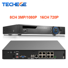 Techege 8CH 3.0MP 1080P 2.0MP 16CH 720P FULL HD 48V Real PoE Network NVR for PoE IP Cameras P2P Cloud Service XMeye CCTV System(China)