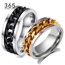 Never Fade Jewelry Stainless Steel Mens Wedding Rock Punk Biker Ring Gold Titanium Black Chain Spinner Rings For Men Gift(China)