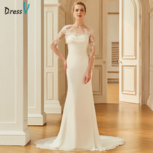Dressv ivory wedding dress scoop neck court train long sleeves bridal mermaid elegant outdoor&church trumpet wedding dresses(China)