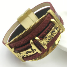 LEMOER Punk Fashion Vintage Belt Buckle Wide Magnetic Leather bracelets & bangles for Women Men Statement Pulseras Mujer Gift(China)