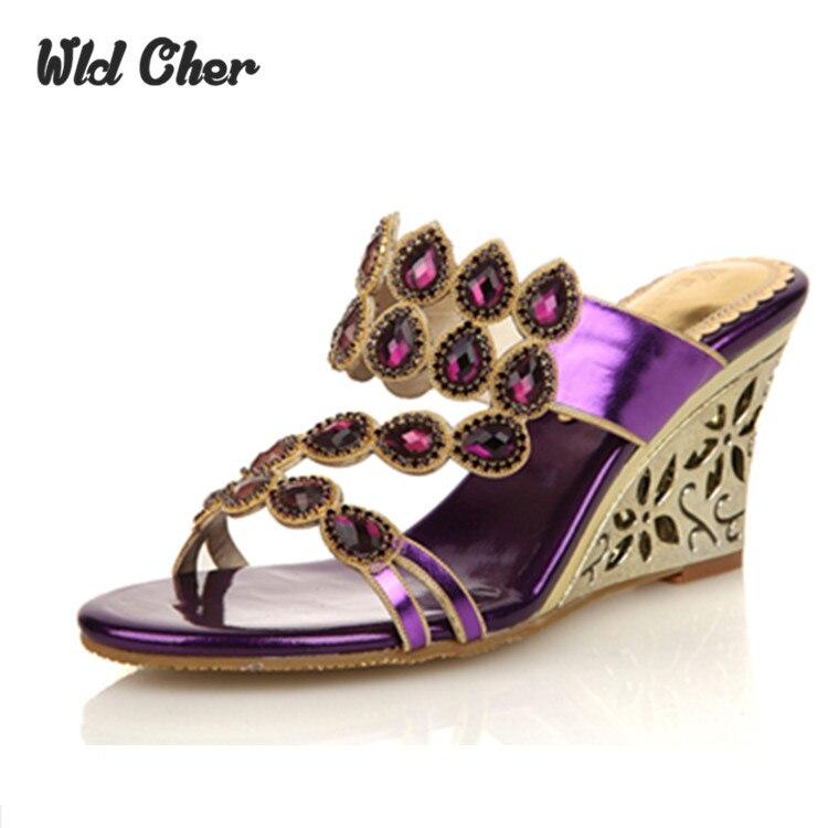 Sandalias high quality wedges heigh heel Mules Sexy Women Slide Sandals Rhinestone Fashion Ladies Sandals 2017 Summer Shoes<br><br>Aliexpress