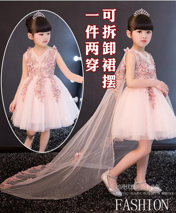 Glizt Appliques Tulle Flower Girl Dress Long Trailing Princess Ball Gown Party Wedding Dress First Communion Dresses for Girl<br>
