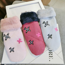 new arrive Korean version thickening velvet warmth with autumn and winter women gray pink wine red gloves mittens
