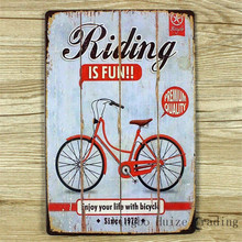 HZ038 Riding Is Fun Vintage metal painting retro metal tin sign 20cm*30cm art posters wall stickers home cafe bar pub wall decor