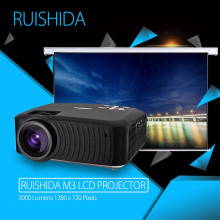 RUISHIDA M3 LCD Projector Home Theater Android 4.4 Wireless Bluetooth 4.0 WiFi 3000LM 1280 x 720 Pixels HD 1080P Media Player