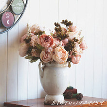 New European Vintage Artificial Flowers Silk Flower Flowers Fall Vivid Peony Fake Leaf Wedding Home Party Decoration fleurs arti(China)