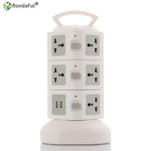 Rondaful Electrical Plugs Sockets Power Strip EU US UK 2 USB Standard Wall Socket Extension Cable Cord American Plug