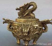 Antique Ming Dynasty copper dragon Smoked stove / censer,20.5cm(H),decoration crafts /collection & adornment,with mark(China)