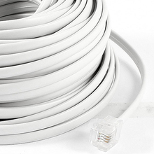 5x 18M 60ft RJ11 6P4C Telephone Extension Cable Connector White