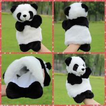 Free shipping Cute Panda Hand Puppet Plush toys Warm Stuffed animal story telling bedtime parenting soothing kids gifts(China)