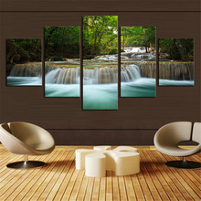 Unframed 5 Panel Forest Waterfall Canvas Oil Painting Wall Art HD Print Spray Painting Picture Set Canvas Art Home Decoration
