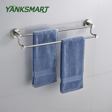 YANKSMART Nickel Brushed Stainless steel Bar Wall Mount Bathroom Towel Rail Holder Storage Rack Shelf 2 layers(China)