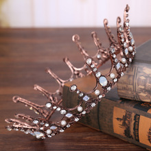 Fashion Baroque Full Circle Round Crystal Bead Crown Retro Hair jewelry 2017 Vintage Gold Tiaras Bridal Wedding Hair Accessories