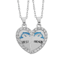 Explosion Models Two Pieces Hearts Alphabet BEST FRIEND Best Friend With Paragraph Clavicle Chain Necklace Foreign Trade Jewelry