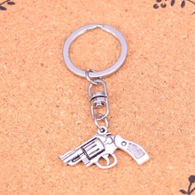 New charming novelty Silver Color Metal Vintage pistol revolver gun Key Chains Accessory & Chrome plated Key Rings
