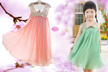 Hot sale! 2018 Summer Girls Pleated Chiffon One-Piece Dress With Paillette Collar Children Colthes For Kids Baby, Pink/Green(China)
