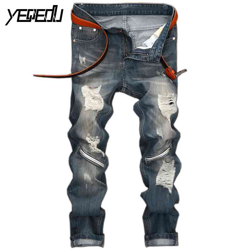 #3441 Fashion Moto jeans Ankle zipper jeans Slim Ripped jeans for men Distressed Biker jeans Fake designer clothes Jogger jeansОдежда и ак�е��уары<br><br><br>Aliexpress