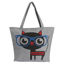 Women Canvas Lady Shoulder Bag Handbag Tote Shopping Bags Zip Multi Pattern Red-eared Cat