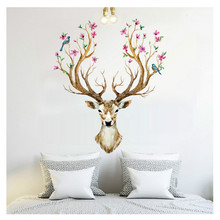 2017 Plum flower deer Wall Stickers For kids rooms living room Home Decor bedroom decor accessories Waterproof wall sticker