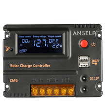 LCD Screen 20A Solar Charge Controller Panel Battery Regulator Auto Switch Overload Protection Temperature Compensation 12V/24V