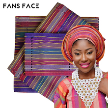 African gele Latest Aso Oke Gele Head Tie For Wedding Nigeria Traditional Headwear Beautiful Elegant Stripe Designs(China)