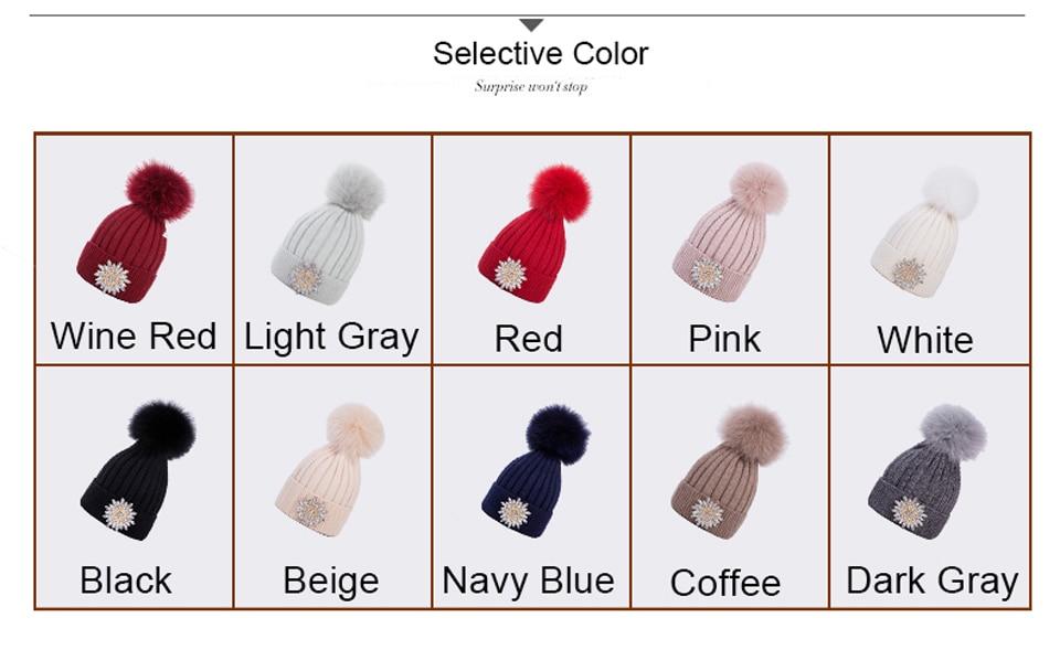 Ralferty Women's Real Fox Pompom Hat Knitted Rabbit Skullies Winter Hats For Women Big Flower Crystal Beanies Black Cap bonnet 7