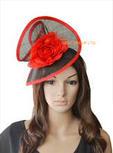 Red black Sinamay fascinator hat for kentucky derby,melbourne cup.