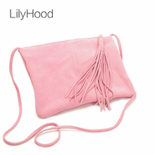 2017 Women Real Leather Pastel Light Blue Pink Cute Shoulder Bag Casual Trendy Small Plain Nubuck Suede Tassel Fringed Bag