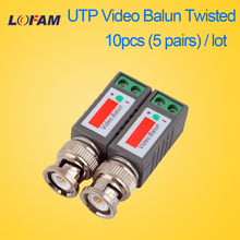 LOFAM 10pcs 5pairs CCTV Video Balun Passive Transceivers 2000ft Distance UTP Balun BNC Cable Cat5 CCTV UTP Video Balun