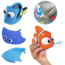 1PCS New Baby Bath Toys Squeeze Sounding Debbling Toys Kids Float Water Tub Rubber Bathroom Play Animals(China)