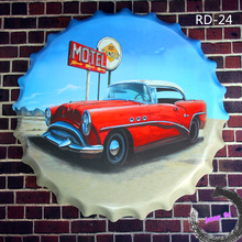 Vintage Round Sign*MOTEL RED CAR* Beer Bottle Cap Metal/Tin Signs Souvenir Home Hall Garage Room Wall Decor <40cm,RD-24>