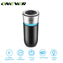 Onever Car Ozone Ionic Air Purifier Air Cleaner Remove Smoke Odor Bacteria Mini Ozone Purifier Function with Car Phone Charger(China)