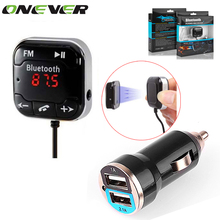 Car Kit Wireless Bluetooth FM Transmitter MP3 Player 3.5mm Audio AUX TF card Slots + Dual USB Car Charger +Magnetic sticker