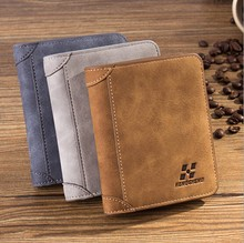 New 2016 fashion gift men male short small leather business cards holders carteira feminina pocket wallets purse 45