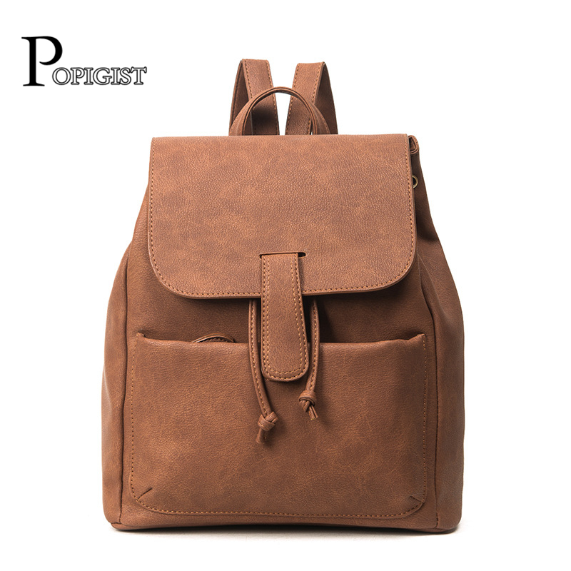 POPIGIST Classic design simple style womens leather Upscale Backpacks Female bag fashion Unisex University daily backpack<br>
