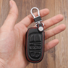 4 Buttons genuine leather car key cover For Jeep Renegade 2014 2015 Grand Cherokee Chrysler 300C Fiat Freemont Auto accessories