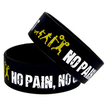 "Promo Gift New Arrival 1PC 1"" Wide Band Everybody Fit No Pain No Gain Silicone Wristband"